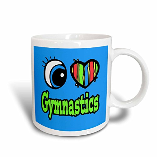 Gymnastics Mug (3dRose Bright Eye Heart I Love Gymnastics Ceramic Mug, 11 oz, White)