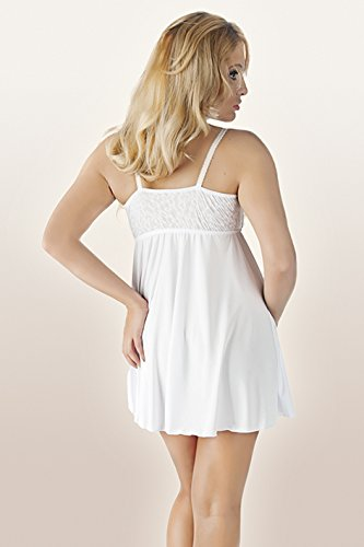 Erotisches Chemise Nachtkleid halbtransparent Damen weiß Dessous Minikleid Negligee in rwXqrTB