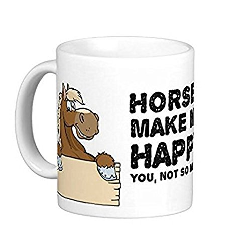 ZMvise Horses Make Me Happy, You Not So Much' Funny Fashion Quotes White Ceramic Mug Cup Perfect Christmas Halloween -