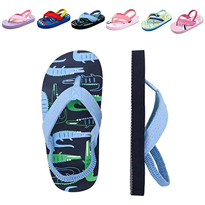 Toddler Flip Flops Girls Unicorn Beach/Pool Flip Flops With Backstrap Slip On Sandals Little Kids Water Shoes