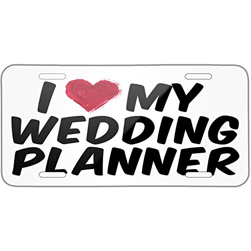 Neonblond I heart love my Wedding Planner Metal License Plate