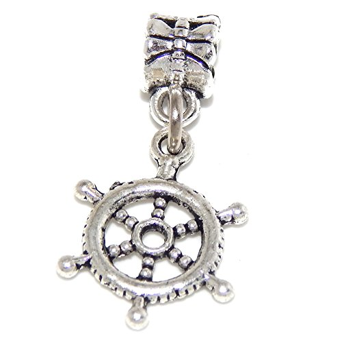 GemStorm Silver Plated Dangling 'Ship's Wheel' For European Snake Chain Bracelets ()