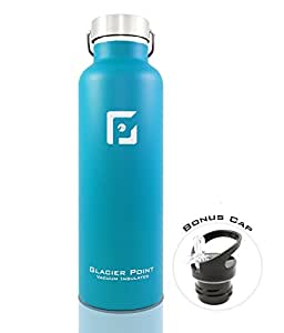 Best Vacuum Insulated Stainless Steel Water Bottle (25oz / 750ml). Double Walled Construction. Zero Condensation! By Glacier Point (Blue)