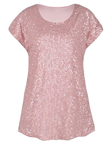 PrettyGuide Women's Sparkly Shirt Glitter Sequined Dolman Loose Tunic Blouse Top Matte Pink L/US14-16