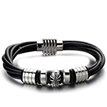 Mens Skull Black Leather Bracelet Genuine Leather Wristband Bangle with Stainless Steel Magnetic Clasp