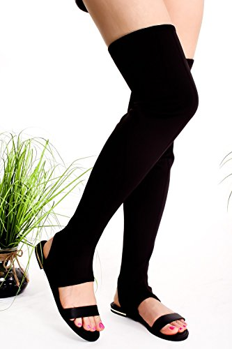 Lolli Couture Pour Toujours Lien Ouvert Orteil Multi Sangle Élastique Conception Latérale Glissière Dentelle Casual Genou Haute Gladiateur Sandales Blklyc-cure-10m