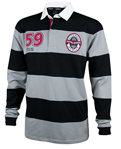 y - Men's Traditional Long Sleeve Shirt (Black/Grey, XL) (Long Sleeve Two Button Rugby)