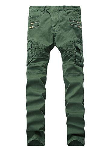 Multi Heterosexual Ocio Jeans Cintura Versaces Bolsillo 1 Media Color Pantalones Cremallera Hombres Ajustado Corte SqFB0Fw