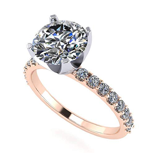 Common Prong Diamond Engagement Setting - NANA Silver 6.5mm (1ct) Round Cut Zirconia Solitaire Engagement Ring-Rose Gold Plated-Size 8