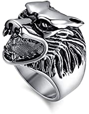 Ring Lion Face for Men, Silver, Size 10, RS036
