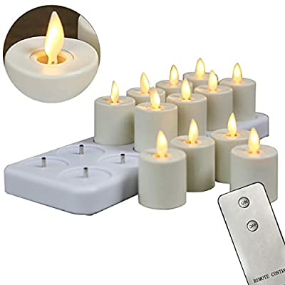 12 Pack Rechargeable Dancing Wick Candles, LED Flameless Remote Flickering Votive Candles With Timer Function(1.5 X 2.4 Inch per Candle)