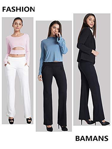 1b9cefb0a2 Amazon.com: Bamans Dress Pant Yoga Pants Bootcut Slim Fit Stretch Flared  Dressy Work Slacks Bootleg Workout Leggings: Clothing