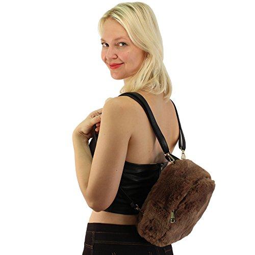 Bag Shoulder CC Daypack Fur Purse Taupe Backpack School Faux Mini Furry Handbag rqrxw8Un