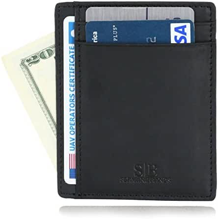 SERMAN BRANDS - RFID Blocking Leather Slim Wallet, Minimalist Front Pocket Wallets For Men Credit Card Holder Made From Full Grain Leather