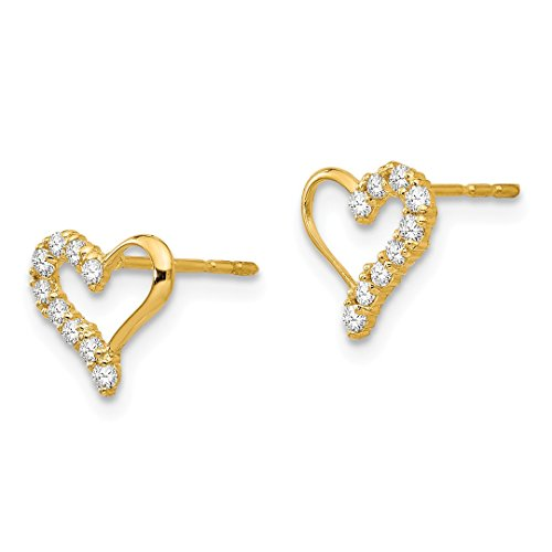 ICE CARATS 14k Yellow Gold Cubic Zirconia Cz Heart Post Stud Earrings Love Fine Jewelry Gift Set For Women Heart by ICE CARATS (Image #5)