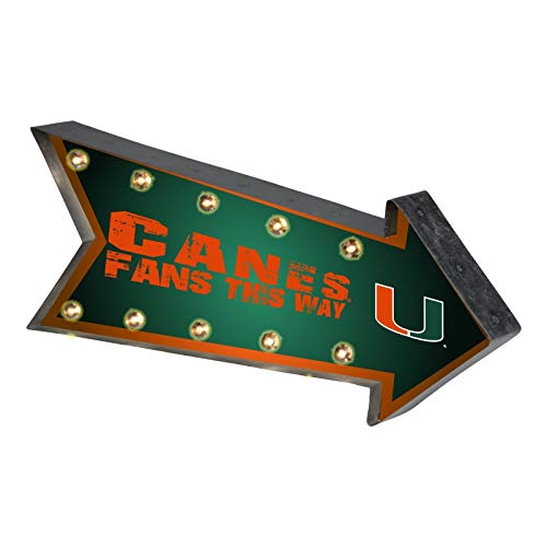 FO-CO Miami Hurricanes Sign Marquee Style Light Up Arrow Design (Sign Hurricanes Miami)