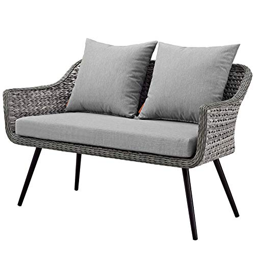 Modern Contemporary Outdoor Patio Lounge Loveseat Sofa, Rattan Wicker Aluminum Metal, Grey Gray ()