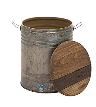 Deco 79 45259 Metal Wood Drum Stool, 16 x 20 , Silver