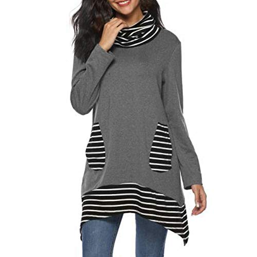 Women Striped Patchwork Sweatshirt Sunyastor Fashion Long Sleeve Bow Pocket Blouse Irregular Hem Tunic Loose Shirts Pullover ()