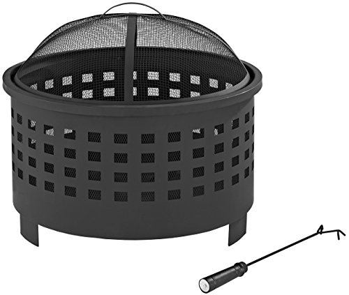 Crosley Furniture Hudson Outdoor Fire Pit with Oversized Bowl and Steel Mesh Lid - Black - Oversized Bowl for Longer and Warmer Fires 360 View of Fire Sturdy Steel Construction - patio, fire-pits-outdoor-fireplaces, outdoor-decor - 41kV6A5kr%2BL -