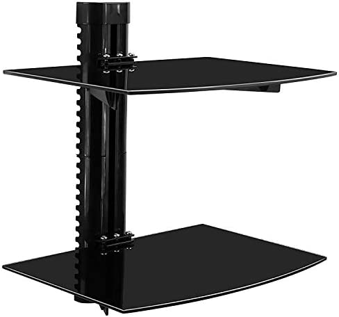 Mount-It Floating Wall Mounted Shelf Bracket Stand for AV Receiver, Component, Cable Box, Playstation4, Xbox1, DVD Player, Projector, 35.2 Lbs Capacity, 2 Shelves, Tinted Tempered Glass