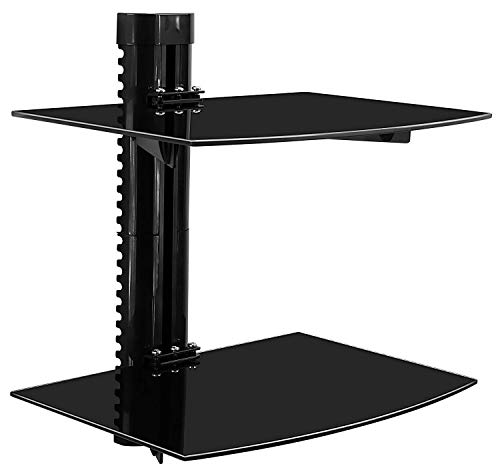 Wall Av Furniture Mounted (Mount-It! Floating Wall Mounted Shelf Bracket Stand for AV Receiver, Component, Cable Box, Playstation4, Xbox1, DVD Player, Projector, 35.2 Lbs Capacity, 2 Shelves, Tinted Tempered Glass)