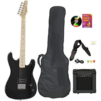 black full size electric guitar practice amp with case strap cord beginner package. Black Bedroom Furniture Sets. Home Design Ideas
