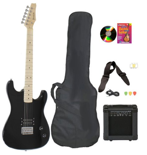 Black Full Size Electric Guitar & Practice Amp with Case Strap Cord Beginner Package & DVD
