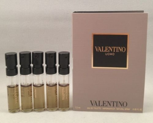 5 Valentino Uomo EDT Spray Vial Travel Sample .05 Oz/1.5 Ml Each Lot