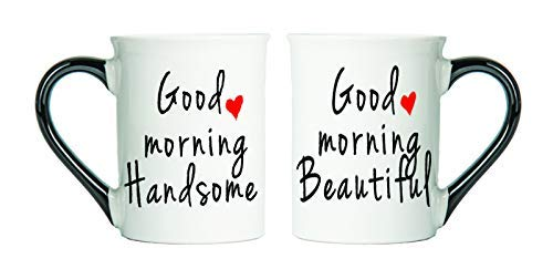 Tumbleweed - Good Morning Beautiful And Good Morning Handsome - Large 18 Ounce Ceramic Coffee Mugs With Black Handle - Love Mugs - Couples GiftsÂ