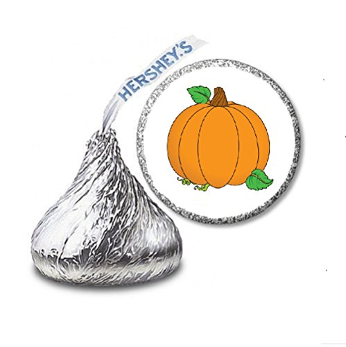 (216 Halloween Pumpkin Labels/Stickers for Hershey's Kisses Candies - Party Favors by JS&B)