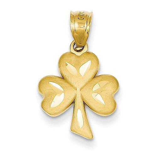 Diamond Shamrock Charm - 14K Yellow Gold Shamrock Charm - (0.87 in x 0.47 in)