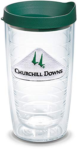 Tervis 1320930 Kentucky Derby 2019 Churchill Downs Insulated Travel Tumbler with Emblem and Hunter Green Lid, 16oz - Tritan, Clear