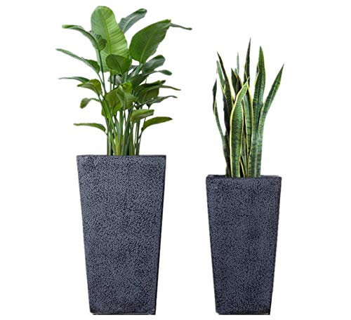 Large Indoor Outdoor Vertical Garden Flower Tall Planters 2 Pack 19'' & 25'' with Drainage (Pots Flower Fiberglass)