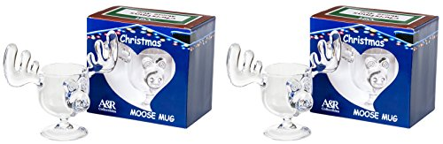 Christmas Eggnog Moose Mugs - Gift Boxed Set of 2 - Safer Than Glass ()