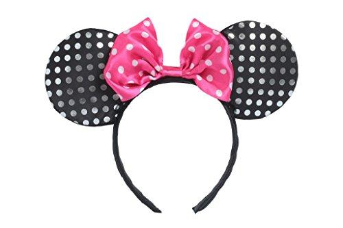 Minnie Mouse Polka Dot Bow Headband And Ears (SILVER & PINK) (Disney Minnie Ears Headband)