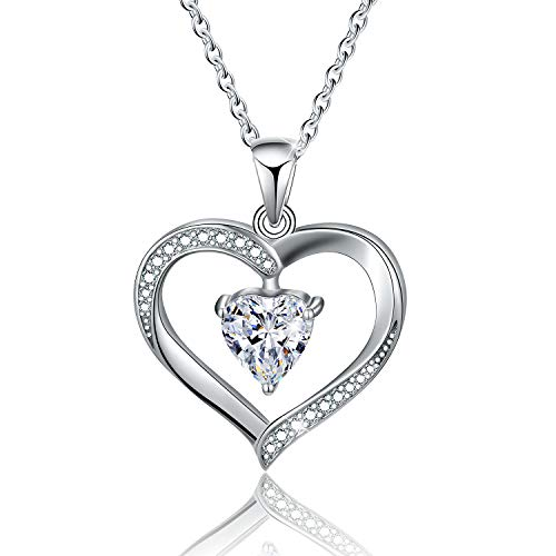 Esberry✦18K Gold Plated 925 Sterling Silver Necklace Pendant 5A Cubic Zirconia CZ Love Heart Shape Pendant with Necklaces for Women (White)