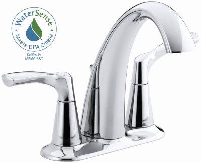 Kohler K-R37024-4D-CP Centerset Bathroom Sink Faucet, Polished Chrome
