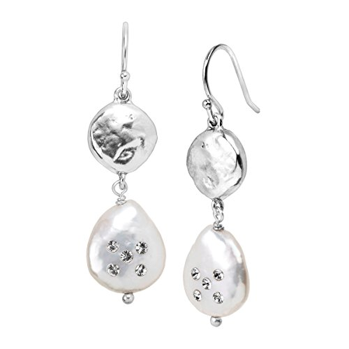 Silpada Bold As Ice 14-14.5 mm Grey Freshwater Cultured Pearl Drop Earrings with Swarovski Crystals in Sterling Silver