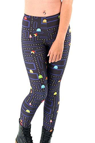 Women's 3D Digital Cartoon Pacman Game Printed High Waisted Leggings Black Plus Size -