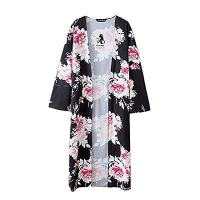 HIRIRI Women Print Kimono Shawl Loose Bathrobe Blouse Ladies Flower Pattern Long Sleeve Shirt Pullover Black