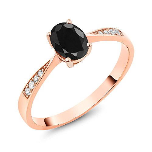 Gem Stone King 10K Rose Gold Oval Black Sapphire and Diamond Women's Engagement Ring (1.13 Cttw, Available in size 5, 6, 7, 8, 9)