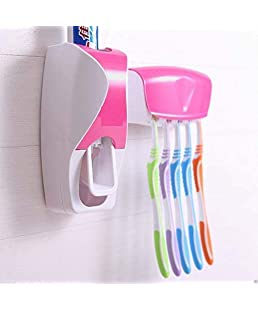 BLUECORP ENTERPRISE BE Plastic Automatic Toothpaste Dispenser and 5 Hole Dust-Proof Wall Mounted Toothbrush Holder with Cover Storage Stand for Home Bathroom Accessories Set (Multicolour)