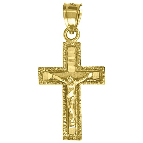 (Jewels By Lux 10kt Gold DC Mens Cross Crucifix Ht:29.4mm x W:14.3mm Religious Charm Pendant.)