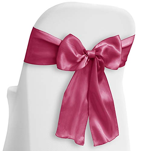 (Lann's Linens - 50 Elegant Satin Wedding/Party Chair Cover Sashes/Bows - Ribbon Tie Back Sash - Fuchsia)