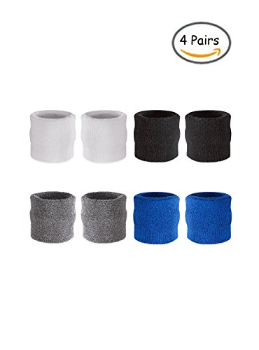OAIMYY Assorted Colors Wrist Sweatbands Athletic Cotton Terry Cloth Wristbands for Gym Sports-4Pairs (White+Black+Gray+Blue) ()