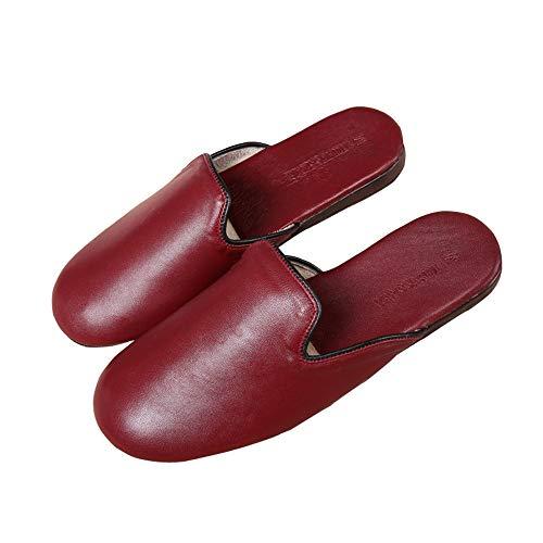 Yoga Soft Genuine Sheepskin Leather Slippers Men's Women's Lovers' House Slip on Shoes (7.5-8 US Women, Red)