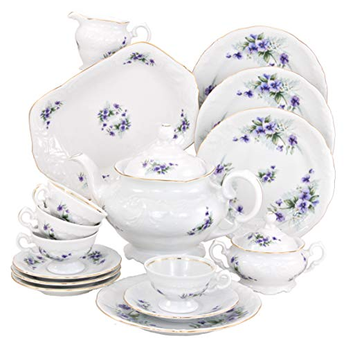 Wawel Tea with Grace European 16-Piece Fine China Tea Set for Children (Violet) - Service for Four