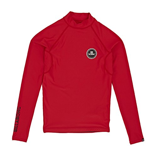 2016 Billabong Junior All Day Long Sleeve Rash Vest in Bright Red W4KY11