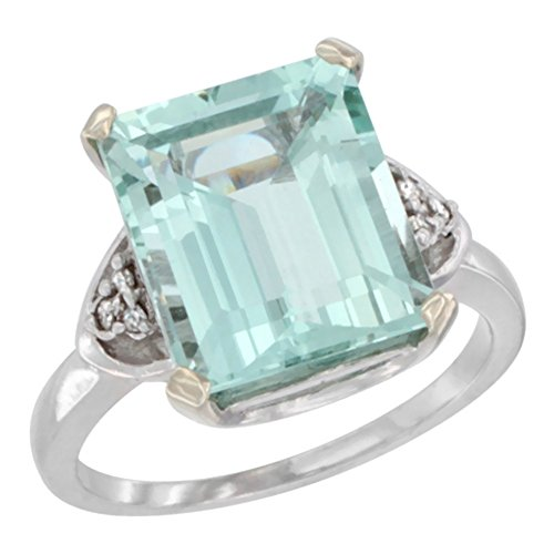 (10K White Gold Natural Aquamarine Ring Octagon 12x10mm Diamond Accent, size 7.5)